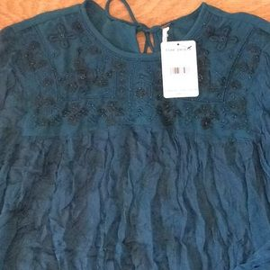 Free People 100% Viscose Turquoise beaded blouse